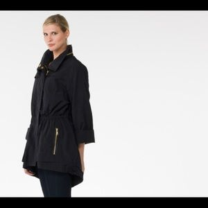 Seven7 Black Rain Resistant Anorak Jacket With Gold Accents